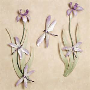 Dragonfly Wall Decor by Dragonflies And Iris Blooms Metal Wall Sculpture Set