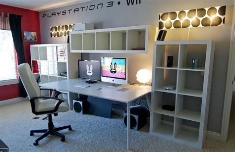 office gaming room with wall to wall shelving and couch 11 reasons to buy an ikea expedit shelf while you still
