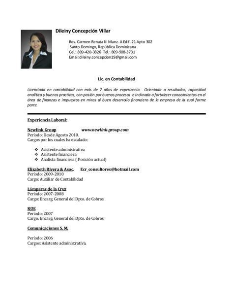 Modelo Curriculum Vitae Republica Dominicana Dileiny Concepcion Curriculum 2016