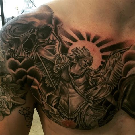 angel tattoos for men on chest the 95 best guardian tattoos for improb