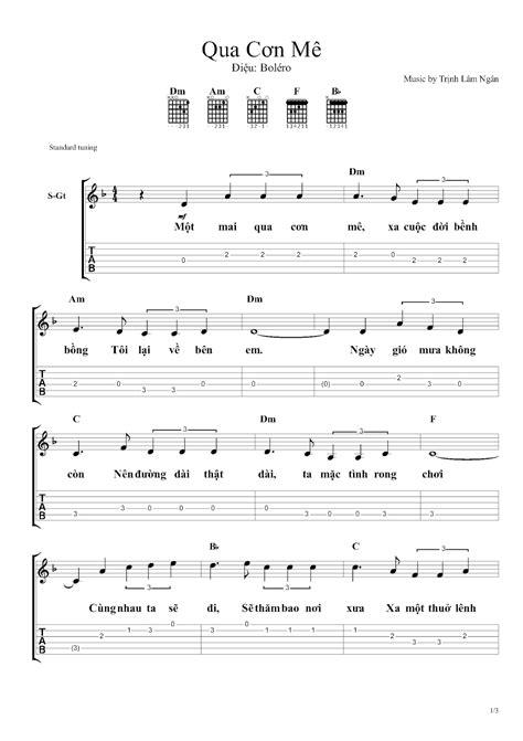 QUA CƠN MÊ - Hợp âm guitar, cảm âm sáo trúc, sheet nhạc hay
