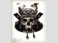Drawn samurai skull - Pencil and in color drawn samurai skull Japanese Katana Sword White