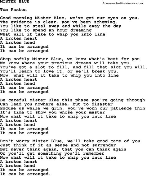 blue lyrics tom mister blue by tom paxton lyrics