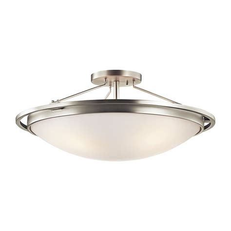 shop kichler 13 25 in w brushed nickel flush mount light at lowes shop kichler 23 25 in w brushed nickel etched glass semi flush mount light at lowes