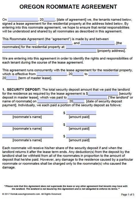 template of a lease agreement for a tenant free oregon roommate agreement template pdf word