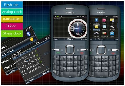 themes for nokia x2 01 with music player asha 302 200 201 210 205 c3 00 theme glossy clock v1 v2
