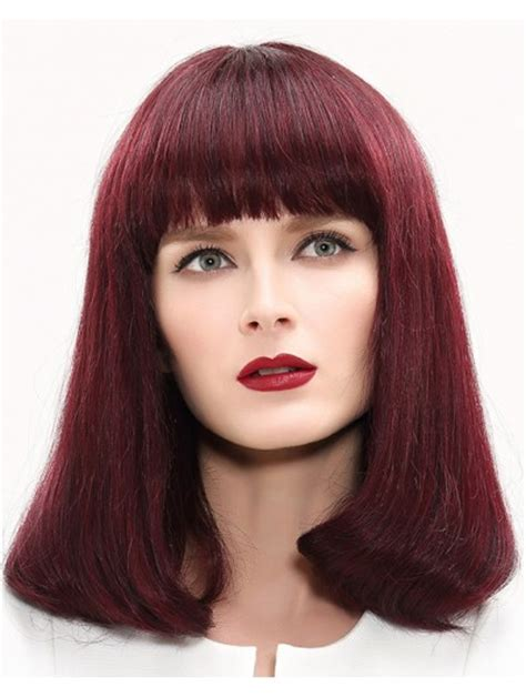 auburn wig with bangs capless medium remy human hair wavy auburn wig with bangs