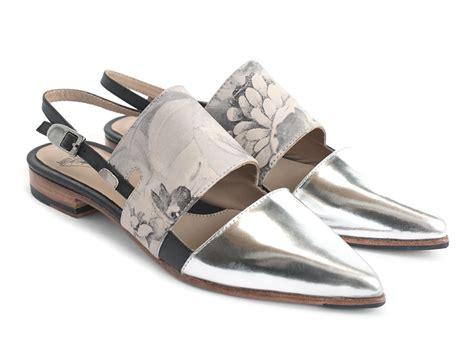 silver flat slingback shoes fluevog shoes shop marlene silver pointed toe