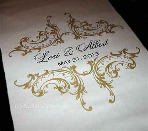 Wedding Aisle Runner Gold by Aisle Runners Artful Celebrations Calligraphy