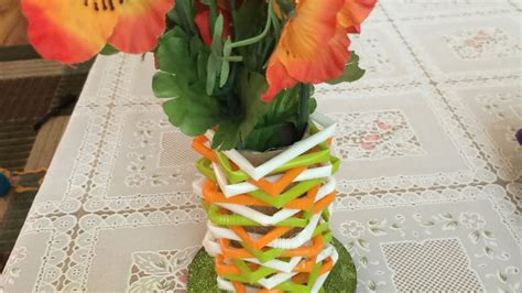 Make Flower Vase Home by How To Make A Beautiful Flower Vase From Straws Diy Home