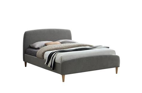 Three Quarter Bed Frame Qube Grey Fabric Three Quarter Contemporary Bed Frame