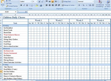 daily chore list template microsoft chore chart templates go search for