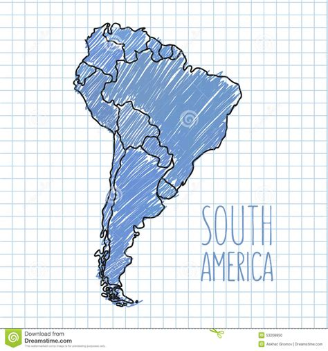 america map free vector vector pen south america map on paper stock