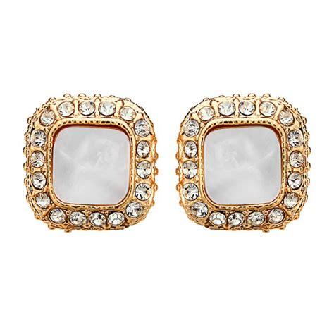 Rhinestone Square Stud Earrings vintage square rhinestone stud earrings gold silver plated