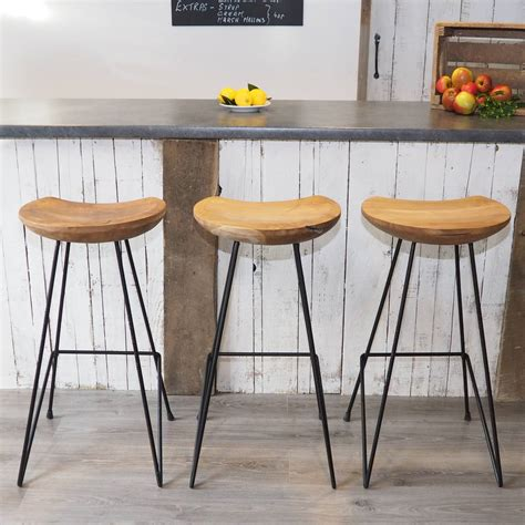 industrial wooden kitchen stools industrial wood bar stool by za za homes