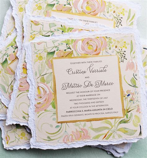 Floral Wedding Invitations by A Peek Into The Studio Watercolor Floral Wedding