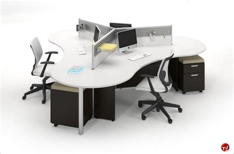 4 person workstation desk the office leader milo cluster of 4 person cubicle desk 3