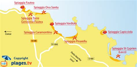 porto vecchio corsica spiagge santa lucia montagne mappa