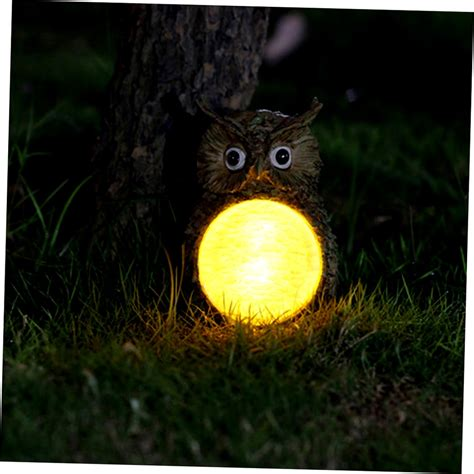 statue with solar light solar owl led light garden home yard decor outdoor light