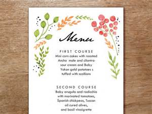menu template watercolor flowers