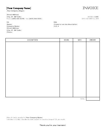 invoice template ms word 2007