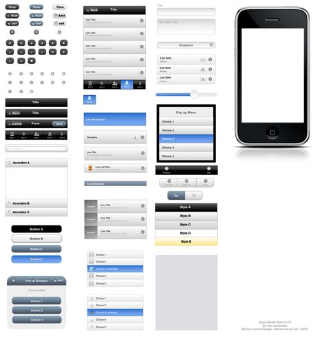 omni graffle templates jquery mobile ui elements omnigraffle stencil graffletopia