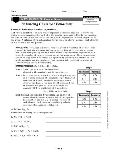 Balancing Chemical Equations Worksheet Grade 10