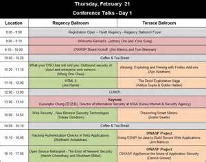 Conference Run Sheet Template by Schedule Owasp Appsec Apac
