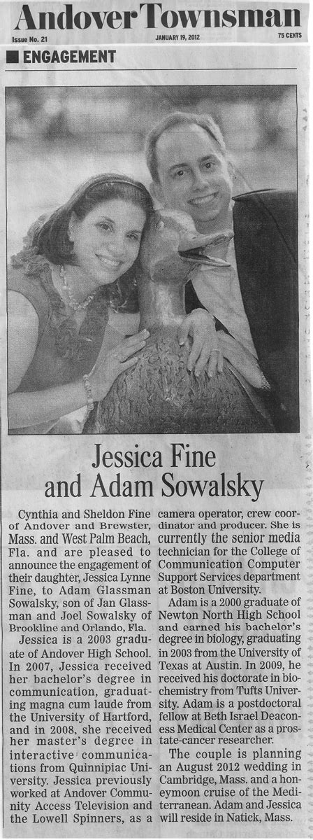 Wedding Announcement Sles For Newspaper by Eagle Tribune Picture And Images