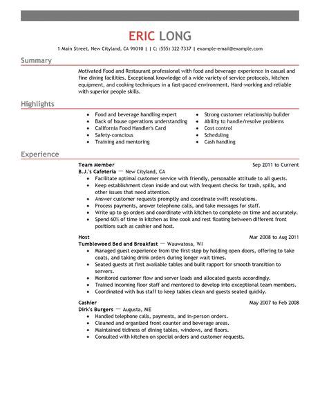 Resume Exles For Restaurant by Restaurant Bar Resume Exles Restaurant Bar Sle Resumes Livecareer