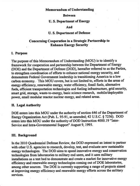 Memo Understanding Template Memorandum Of Understanding Template 16 Free Documents In Pdf