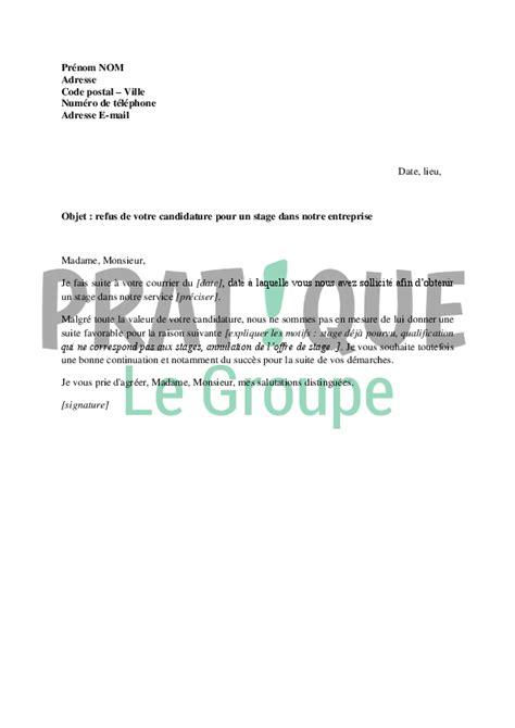 Lettre De Demande De Visa Apres Refus exemple de lettre de refus de stage