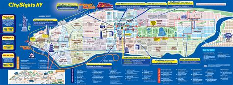 New York Gray Line Tour Map by Map Of Nyc Tourist Attractions Sightseeing Amp Tourist Tour