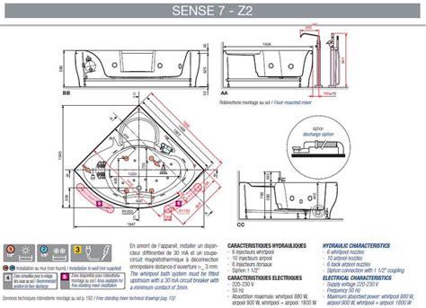 Contenance Baignoire Standard by Baignoire Angulaire Sense 7 Z2 Novellini Elysium Version