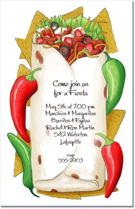 Stuffed Burrito Mexican Fiesta invitations, Cinco de Mayo