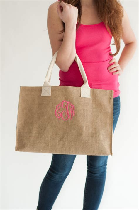 burlap tote bag monogram burlap bag personalized