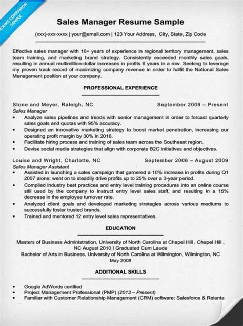 project manager sle resume format sales manager resume sle writing tips resume companion