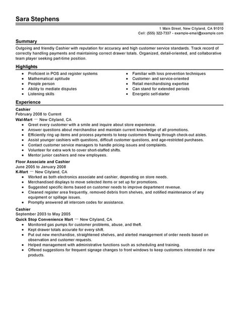 part time cashiers resume sle and cashier skills for resume