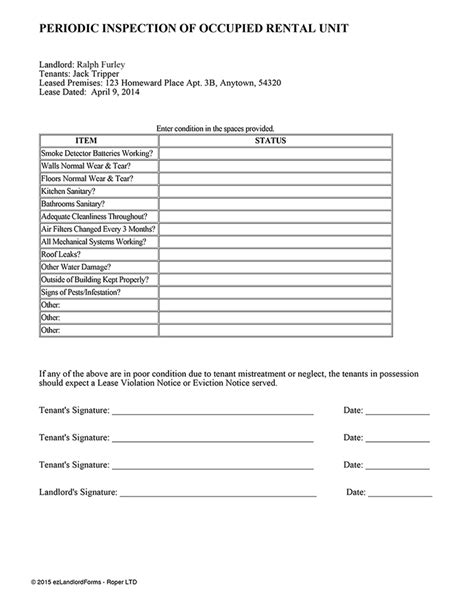 Periodic Inspection Report For Rental Property Template