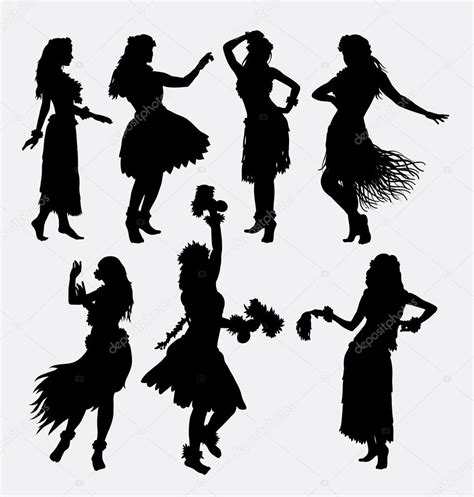 hula activity silhouettes stock vector