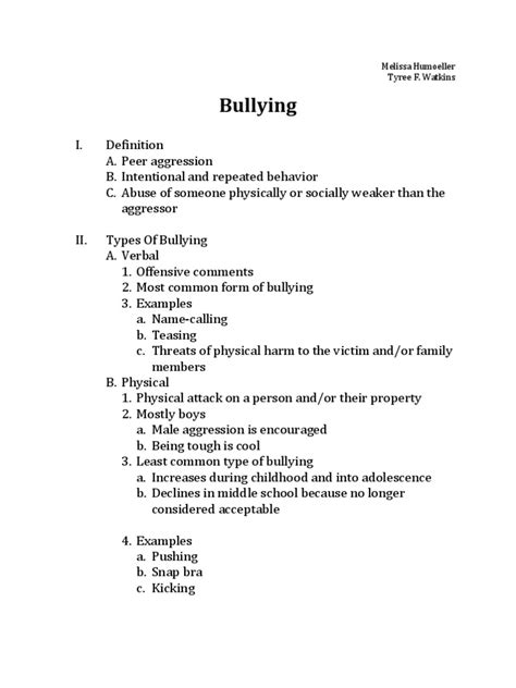 Effects Of Bullying Essay by Bullying Outline Bullying
