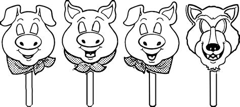 3 little pigs mask template coloring page wecoloringpage