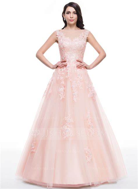 bal gowns ball gown scoop neck floor length tulle prom dresses with