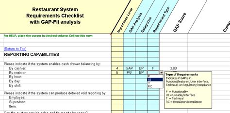 requirements gap analysis template restaurant point of sale software requirements checklist
