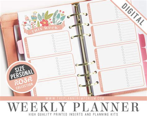 free printable personal planner inserts personal weekly planner inserts rosa collection fits