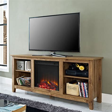 Fireplace Essentials by Essentials Barnwood Fireplace Tv Stand