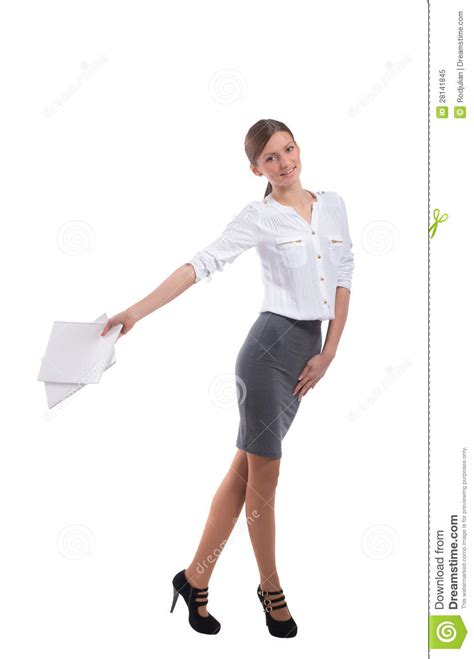 lady with the smiling office lady walking with notebooks stock image