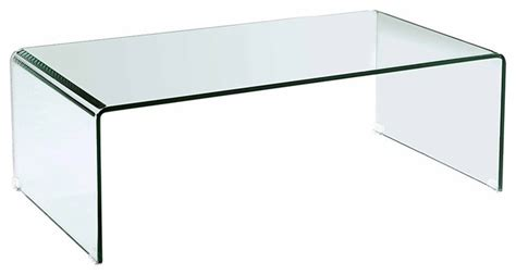 modern clear bent glass rectangular coffee table strada