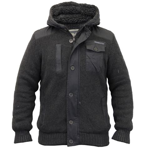 Hooded Knitted Coat mens jacket crosshatch coat knitted hooded top sherpa