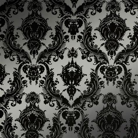 black and silver bathroom wallpaper seriously considering redoing the bathroom walls with this silver and black damask